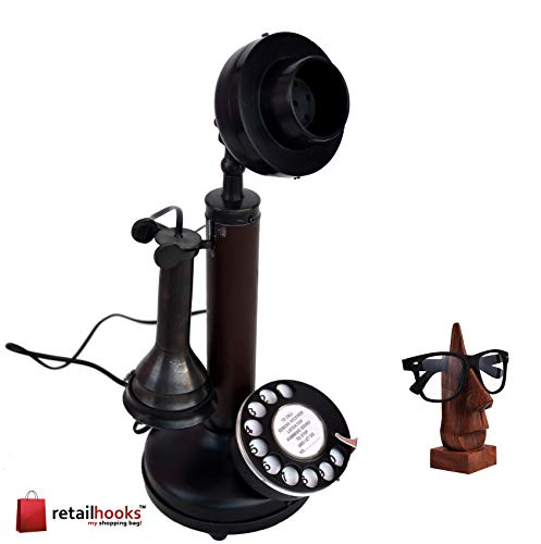 retailhooks Vintage Antique Candlestick Rotary Dial Phone Black Antique Finish Table Decorative Telephone with Free Sunglasses Holder Or Wooden Spec Holder