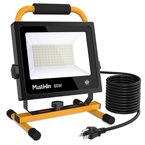 MustWin 60W Portable LED Work Light 6000LM (450W Equivalent) IP65 Waterproof Dimmable Flood Light 112 LEDs Touch Switch Stand 16ft/5M Cord with Plug for Construction Site, Workshop 5000K Daylight Whit