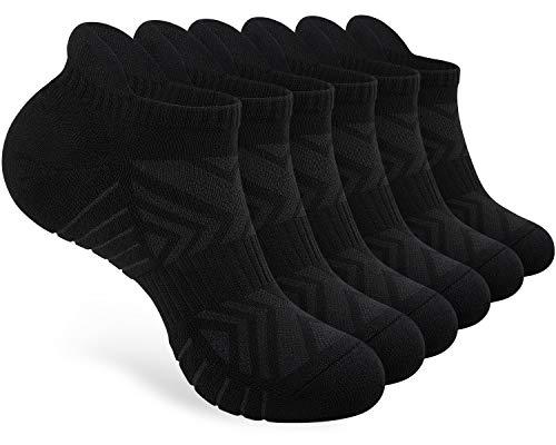 PULIOU 6 Paar Sneaker Socken Herren Damen 43-46 39-42 35-38 47-50 Gepolsterte Laufsocken Baumwolle Sportsocken Atmungsaktiv Kurz Socken Schwarz Weiß Grau, L01-Schwarz 43-46
