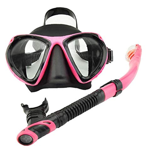 Aiyrchin Conjunto de Buceo Snorkel Cara Cubierta en seco del Tubo respirador de Pieza Facial de Cara Visera con Tubo de respiración para el Hombre Mujer de Mediana Rosa 2 Piezas