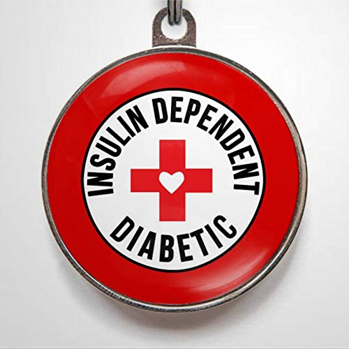 Diabetes Insulin Dependent Diabetic and Personalized Pet ID Tags, 1.38-1.5inch Cat Dog ID Tag & Two Sided Dog Name Tag.