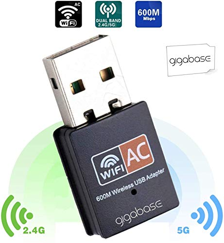 gigabase Original WLAN WiFi Wireless USB Adapter Dongles Stick Gaming Streaming High Speed 600Mbps Dual Band 2.4GHz 5GHz 802.11ac/n/g/b Windows XP/Vista/7/8/10 no Driver notwendig Plug & Play