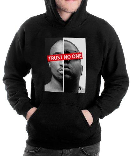 Stylotex Hoodie Trust No One 2   Gekämmte Baumwolle   Cooler Kapuzen-Pullover   Hochwertiges Kapuzenshirt   Hooded Sweatshirt   Langarm, Farbe:schwarz, Größe:M