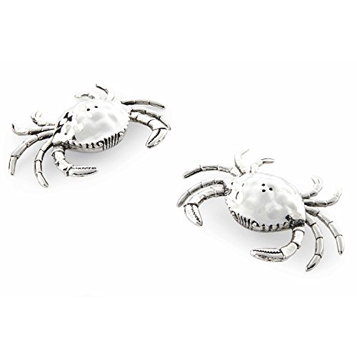 Mud Pie 4501005 Crab Salt and Pepper Shaker Set, Silver