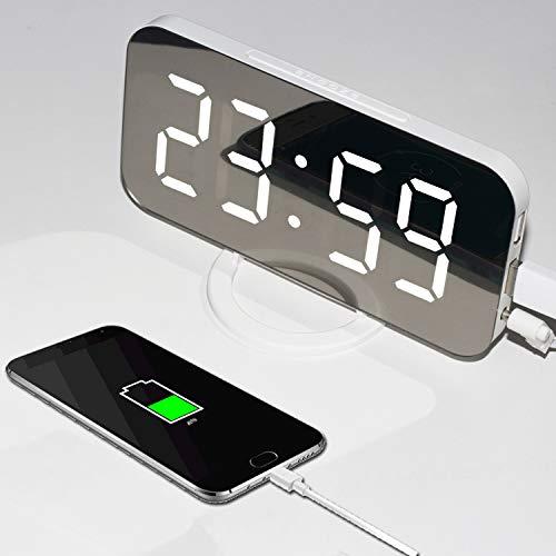JAOK Digital Alarm Clock, LED Electronic Mirror Display, Multi-Level Brightness Automatic Adjustment, Dual USB Charging Output Ports, Suitable for Living Room Desktop, Bedroom Bedside Table ,Sliver