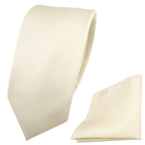 TigerTie Schmale Designer Krawatte + Einstecktuch beige elfenbein champagner Uni Rips - Binder Tuch