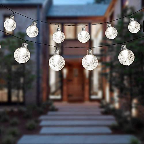 Solar Garden Lights 21.33ft 30 LEDs Solar Lights Outdoor Garden Waterproof, Dual Solar Powered/USB Powered String Lights for Home,Garden,Patio,Yard,Festoon,Indoor/Outdoor,Cool White (White)