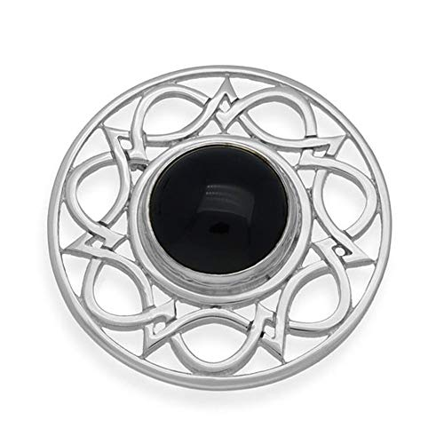 Sterling Silver Traditional Celtic Eternity Knotwork Design Brooch With Black Onyx Stone