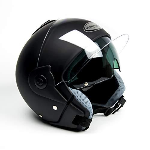 Saferide | Helm Motorrad Mit Sonnenblende Matt Schwarz M - 57-58 cm Rollerhelm Quad Damen Herren Roller Motorradhelm Regenschutz Jugendliche Schutzhelm Sturzhelm Erwachsene Moped Mofa