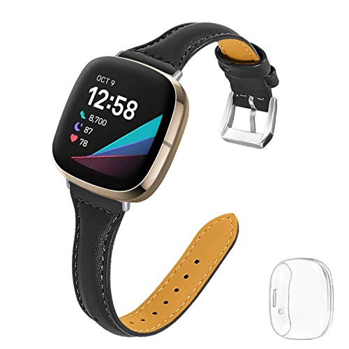 Joyozy Thin Leather Bands with Clear Screen Protector Case Compatible with Fitbit Sense/Fitbit Versa 3,Professional Classic Wristband Strap Replacement for Women Men Black