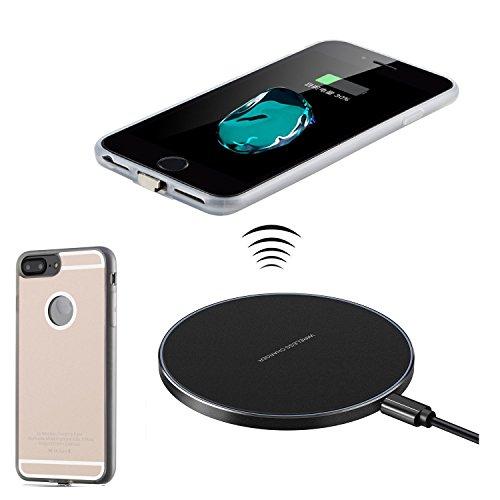 Antye Kit Qi caricatore senza fili per iPhone 7 Plus/6S Plus/6 Plus (5,5 pollici), anche wireless di ricarica ricevitore Caso e Qi Wireless Pad ricarica