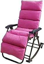 High-quality recliner Sun Lounger Chair Deck Chair Folding Recliner Rocking Chair Recliner Balcony Rocking Chair Elderly Chair Home Swing Wicker Chair Casual Lunch Break Chair (Color : Pink)