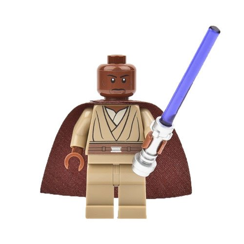 Lego Star Wars Mace Windu Minifigure with Brown Cape and Purple Lightsaber 9526