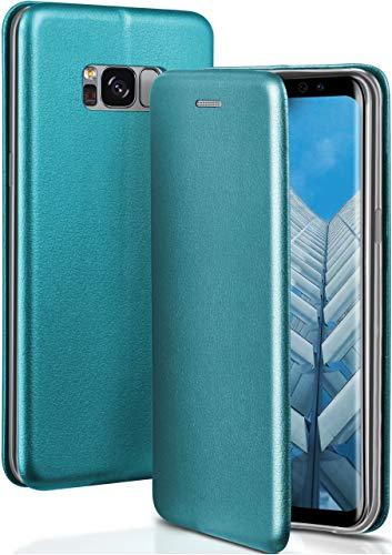 OneFlow® Premium Booklet mit unsichtbarem Magnetverschluss + Aufstellfunktion kompatibel mit Samsung Galaxy S8 | Exklusive Lederoptik, Blau