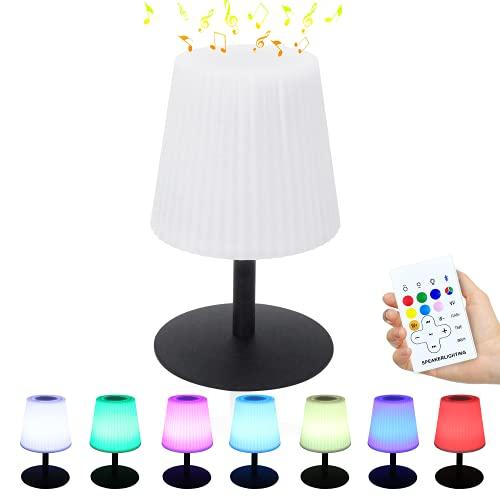 Bleutooth Lámpara de mesa con altavoz inalámbrico, USB, portátil, regulable, 7 colores,...