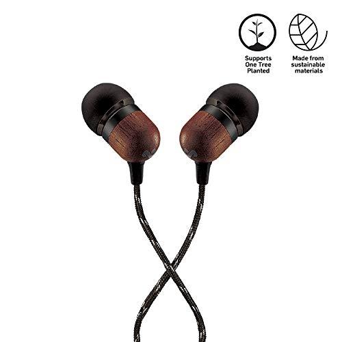 House of Marley Smile Jamaica In-Ear Kopfhörer, 1-Knopf Steuerung, Geräuschisolierung, 9,2mm Treiber, Mikrofon, Gelaufsätze in 2 verschiedenen Größen, verwicklungsfreies Kabel, Signature black