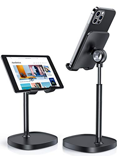 Cell Phone Stand, Angle Height Adjustable LISEN Phone Stand for Desk, Thick Case Friendly Phone Holder Stand for Desk, Compatible with All Mobile Phones,iPhone,Switch,iPad,Tablet(4-10in)-Full Black