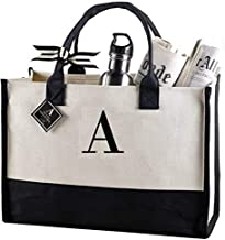 Mud Pie Classic Black and White Initial Canvas Tote Bags (A),100% Cotton, 17