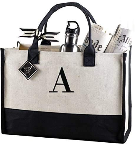 """Mud Pie Classic Black and White Initial Canvas Tote Bags (A),100% Cotton, 17"""" x 19"""" x 2"""""""