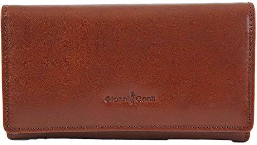 Gianni Conti fein italienisches Leder groß 5 Karte Portemonnaie Geldbörse in 3 Farben - 908021 - Braun, Large