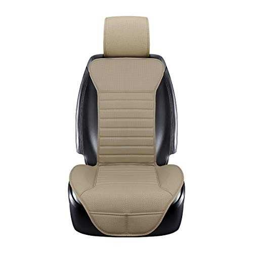 EDEALYN New Universal car seat Cover PU Leather Car Seat Cushion Car seat backrest pad for Driver seat - Car Interior Accessories ,1 PCS (Beige-B)