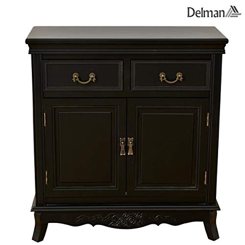 Delman grote sideboard hout landhuisstijl commode met 4 laden ladecommode dressoir XXL 0005 zwart