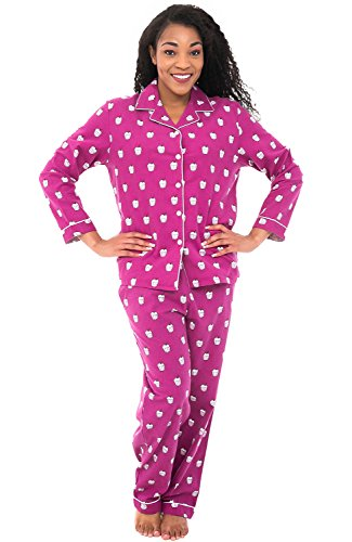 Alexander Del Rossa Women's Warm Flannel Pajama Set, Long Button Down Cotton Pjs, Medium Sweet Cupcakes on Purple Violet (A0509Q94MD)