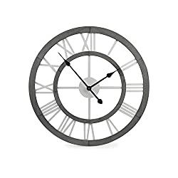 Concept in Time Decorative Wall Clock 24 Round Large Oversized Roman Numeral Modern Wood Style Home Office Decor (Grey Wood)