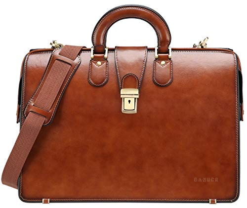 Banuce Leather Lawyer Bag for Men Doctor Briefcase Attache Case15.6 Inch Laptop Attorney Bag Brown