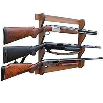 Rush Creek Creations Indoor 3 Rifle/Shotgun Wall Storage Display Rack Dark Walnut