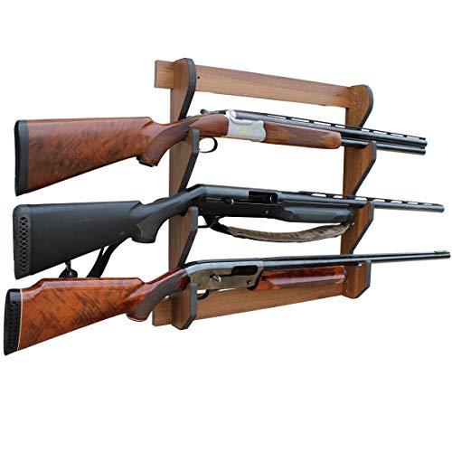 Rush Creek Creations Indoor 3 Rifle/Shotgun Wall Storage Display Rack, Dark Walnut