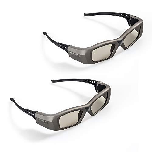 2x Hi-SHOCK BT/RF Pro Oxid Diamond 3D Brille für 3D TV & RF Beamer von Sony, Epson, Jvc, Samsung, Panasonic, Telefunken | DualView Dualplay [Shutterbrille | 120 Hz | wiederaufladbar | Bluetooth/Funk]