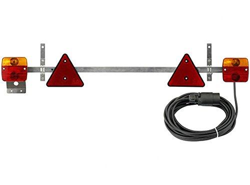 AdLuminis Stangenleuchte Anhänger-Rückleuchte mit Kabel, für Straßenverkehr zugelassen, 7,5m Kabel, Stecker 7-polig, Anhängerbeleuchtung mit ausziehbarer Teleskopstange, Traversenleuchte