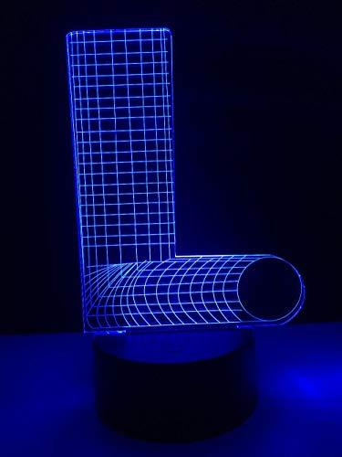Lámpara 3D de noche con letra L en 7 colores, cambia de color, interruptor USB, luz atmosférica para bebés, regalo de cumpleaños para niños