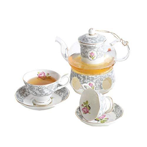 Tetera, tetera de hierro fundido, set de té de porcelana con infusor, tazas de porcelana china, salsa de encaje rosa tarde té para decoración del hogar