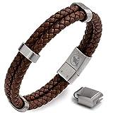 WOLFLOCK   Lederarmband für Männer   schwarz & braun   Mehrere Längen   Magnetverschluss Edelstahl   Armband Herren   Tolles Geschenk für Männer   BRACKETEER
