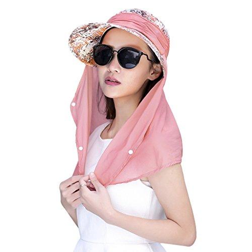 Damen Sommer Sonnenhut Anti-UV Hut, Frauen Strandhut Sommerhut , doppelfunktionale Hüte Kappe mit abnehmbarer Nackenschutz