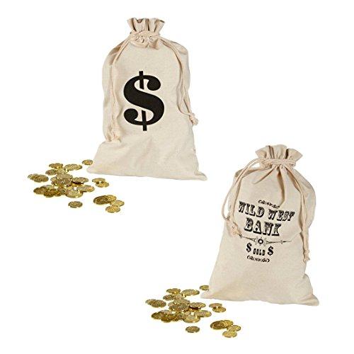 NET TOYS Bankräuber Geldsack Dieb Geld Sack 30 x 48 cm Dollarzeichen Stoffsack Räuber Geldbeutel Wild West Bank Beutel Cowboy Kostüm Zubehör
