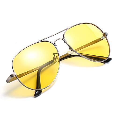 Myiaur HD Gelbe Nachtsichtbrille Autofahren Polarisiert für Damen Herren Pilotenbrille with 100{6b3345111d51c35dc0429728c6c703fd3ef555751065920a334d262cca06a3b7} UVA UVB Schutz Entspiegelten (Grau)