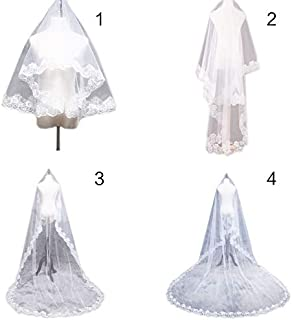 1.5/2/3/5M 1 Layer Women Bridal White Ultra Long Wedding Tulle Veil Wide Embroidered Hexagonal Floral Applique Edge Marriage 200cm