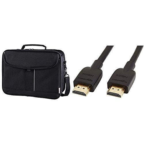 Hama Sportsline Beamertasche groß (Projektor Tasche Größe L) Schwarz und AmazonBasics Hochgeschwindigkeits-HDMI-Kabel 2.0, Ethernet, 3D, 4K-Videowiedergabe & ARC, Ultra-HD, 3 m