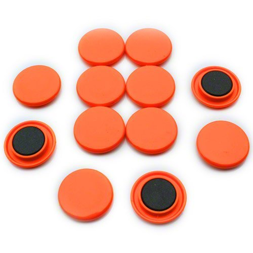 First4magnets F4M40-ORANGE-1 Große Orange-Schwarzes Brett/Planung-Magnet (40mm Durchmesser x 8mm hoch) (1 Packung mit 12), silver, 25 x 10 x 3 cm
