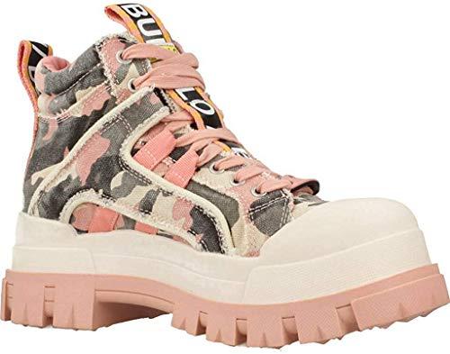 Buffalo Damen Stiefeletten ASPHA MID, Frauen Plateaustiefeletten, Freizeit leger Stiefel Boots halbstiefel flach Lady,Camouflage PINK,39 EU / 6 UK