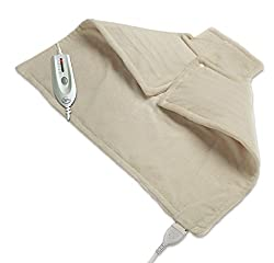 Wellrest   Therapeutic Neck and Back Warmer 4-Heat Settings With Auto Shut Off, Machine Washable, Natural