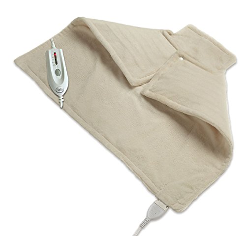 Wellrest | Therapeutic Neck and Back Warmer 4-Heat Settings With Auto Shut Off, Machine Washable, Natural