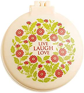 """Live Laugh Love 2.5"""" Diameter Folding Hair Brush With Compact Mirror Pocket Size Gift Positive Vibe Message Travel Car Gym..."""