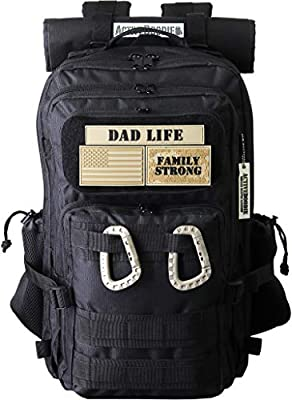 ActiveDoodie Dad Diaper Bag Backpack, Tactical Adventure Dad Gear, Changing Pad, Stroller Straps, Insulated Bottle Holder, Diaper Bag for Dad, Military Style (Dad Life, Large)