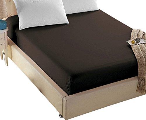 4U LIFE - Spannbetttuch aus der Prime 1800er-Serie, doppelt gebürstete Mikrofaser, ultraweiches Gefühl und knitterfrei, verblasst nicht, tiefe Tasche für übergroße Matratzen, Doppelbett, dunkelbraun