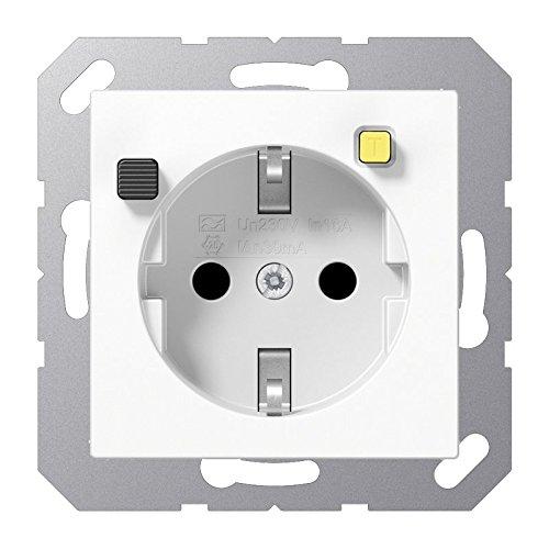 Jung - Base Enchufe shuko 16a con protección diferencial termoplastico Blanco