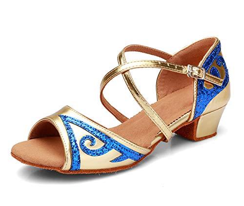 APTRO Mädchen Tanzschuhe für Latein Salsa Ballsaal Dance Schuhe PU Gold 28